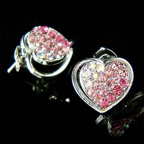 Swarovski Crystal Bridal Wedding Valentine Pink Heart Earrings