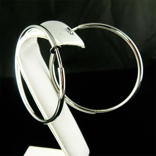 "2 1/2""(60mm)Large Celebrity Rhodium-Plated Hoop Clip On Earrings"