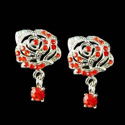 Elegant Swarovski Red Crystal Cutout Rose Flower Stud Earrings