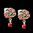Elegant Swarovski Red Crystal Cutout Rose Flower Stud Earrings