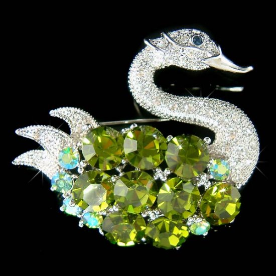 Swarovski Crystal Big Green Swan Brooch