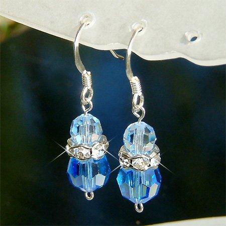 Something Blue Bridal Swarovski Crystal Sterling Silver Earrings