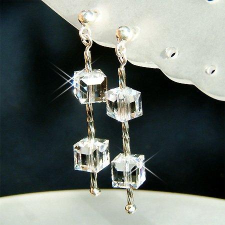 Swarovski Cube Square Crystal Bridal Sterling Silver Earrings
