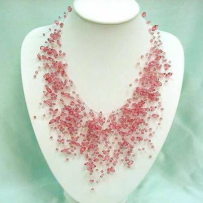 Waterfall Floating Bridal Wedding Pink Faux Quartz Necklace