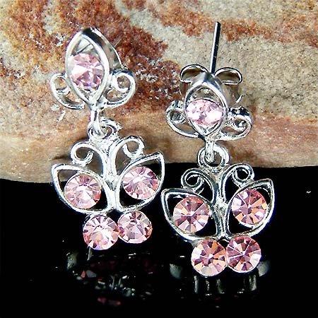 Pink Swarovski Crystal Bridal Wedding Butterfly Stud Earrings