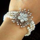 3 Strands Swarovski Crystal Brooch Freshwater Pearl 925 Bracelet