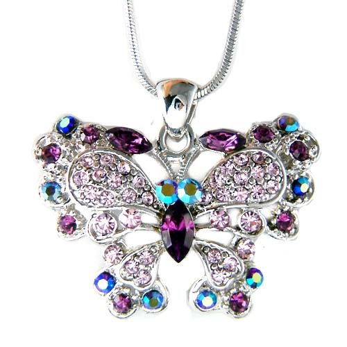 Bridal Purple Swarovski Crystal Butterfly Pendant Necklace