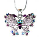 Bridal Purple Swarovski Crystal Butterfly Pendant Necklace