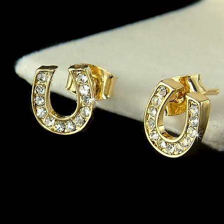 Petite Western Bride Swarovski Crystal Gold Horseshoe Earrings