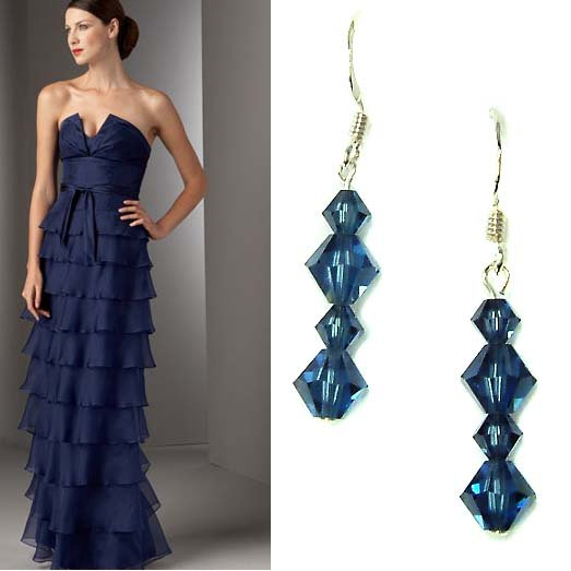 Dark Navy Blue Bridal Swarovski Crystal Sterling Silver Earrings
