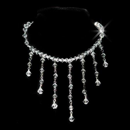 Victorian Style Swarovski Crystal Bridal .925 Silver Necklace