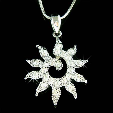 Swarovski Crystal Sun Goddess Sunshine Sunburst Pendant Necklace