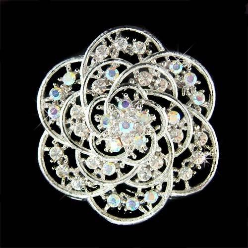 Bridal Swarovski Crystal Filigree Cutout Flower Bouquet Brooch