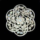 Bridal Swarovski Crystal Filigree Cutout Flower Bouquet Brooch