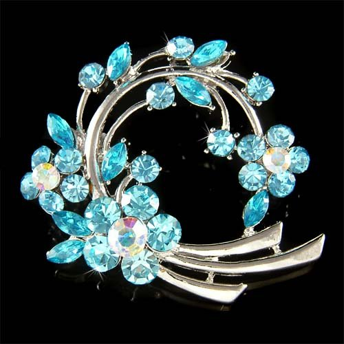 Bridal Aqua Blue Flower Wreath Swarovski Crystal Bouquet Brooch