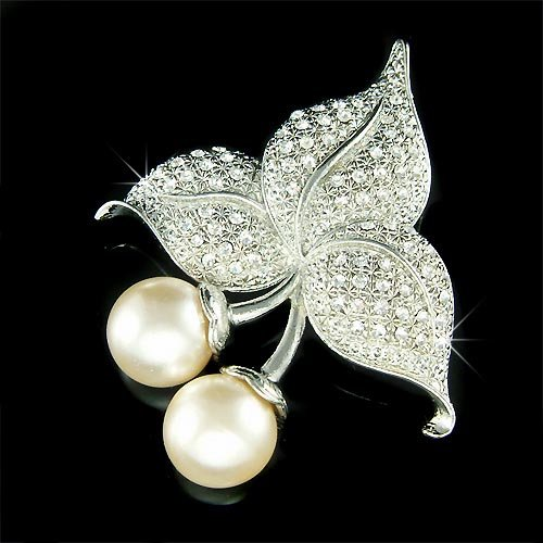 Big Bridal Swarovski Crystal Pearl Cherry Flower Bouquet Brooch