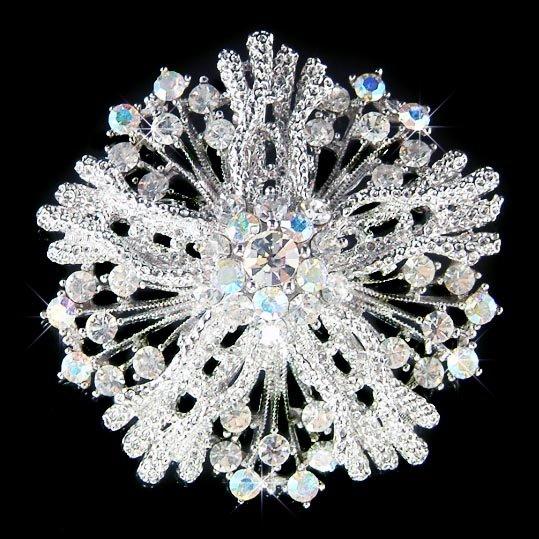 Beach Wedding Swarovski Crystal Flower Coral Bouquet Brooch