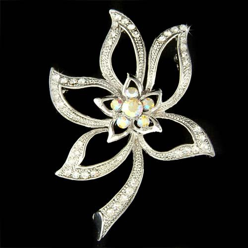Bridal Swarovski Crystal Clear Cut Out Flower Bouquet Brooch