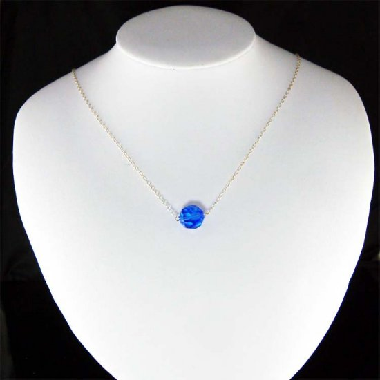 Sapphire Blue Simple Swarovski Crystal Sterling Silver Necklace