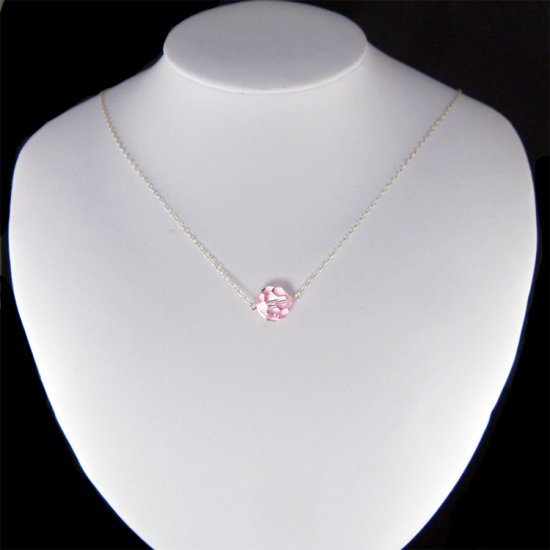 Light Rose Pink Swarovski Crystal Ball Sterling Silver Necklace