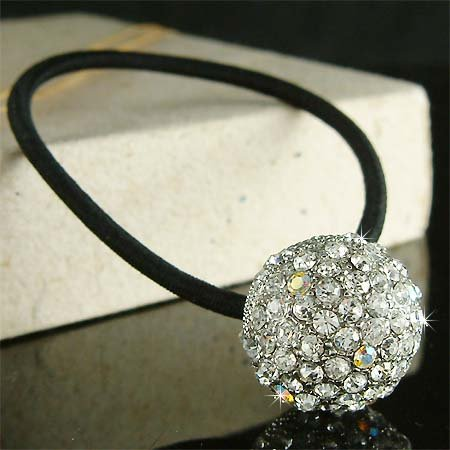 Swarovski Crystal Flower Disco Ball Ponytail Holder Hair Band
