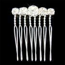 Simple Bridal Wedding Prong Set Crystal Silver 8 Prong Hair Comb