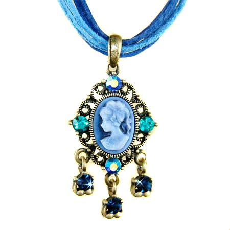 Antique Gold Swarovski Crystal 5 Strands Leather Cameo Necklace