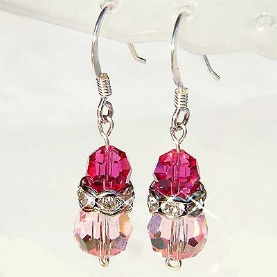 Fuchsia Pink Swarovski Crystal Bridal Sterling Silver Earrings