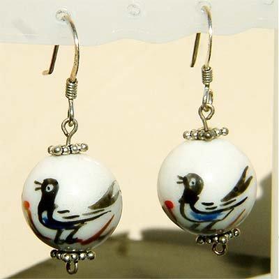 Dangle Oriental Bird on the Branch Sterling Silver Earrings