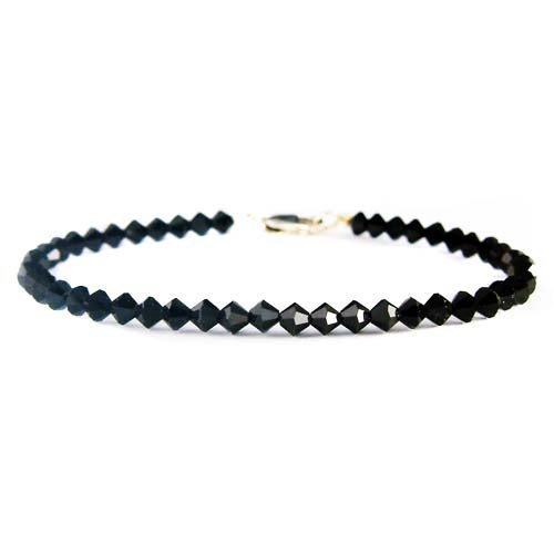 Everyday Swarovski Crystal Jet Black Sterling Silver Bracelet