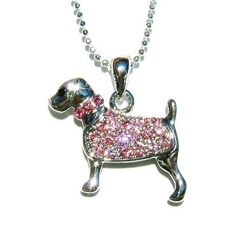Pink Swarovski Crystal Rottweiler Dog Pet Pendant Chain Necklace
