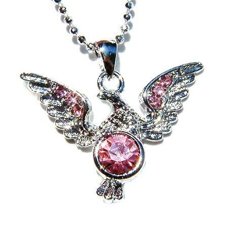 Pink Swarovski Crystal Hawk Bird American Eagle Pendant Necklace