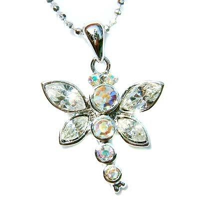 Bridal Wedding Swarovski Crystal Cute Dragonfly Pendant Necklace