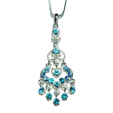 Swarovski Crystal Bridal Aqua Blue Chandelier Pendant Necklace