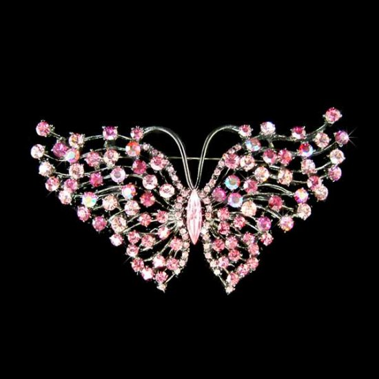Huge Bridal Wedding Sexy Swarovski Crystal Pink Butterfly Brooch