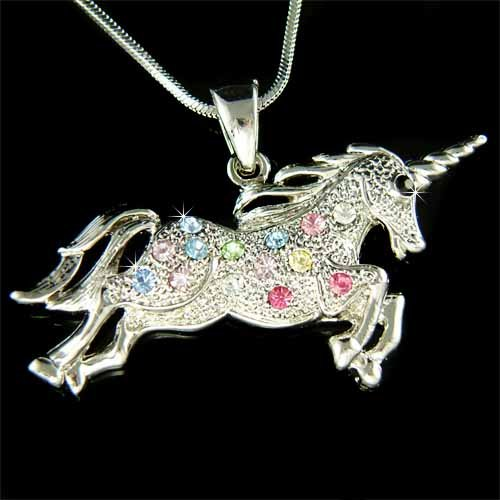 Rainbow Single-horned Horse Swarovski Crystal Unicorn Necklace