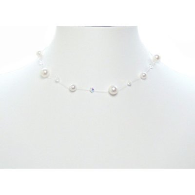 Floating Illusion Bridal Swarovski Crystal Pearl Silver Necklace