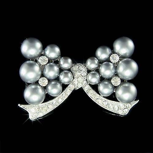 Bridal Wedding Swarovski Crystal Gray Pearl Bow Bouquet Brooch