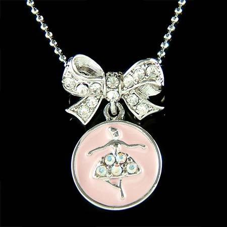 Pink Swarovski Crystal Bow & Ballerina / Ballet Dancer Necklace