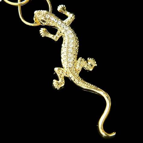 Gold Swarovski Crystal Newt Iguana Lizard Gecko Reptile Necklace
