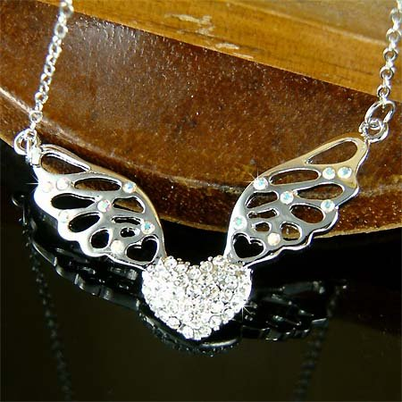 Sparkling Heart Fairy Angel Wings Swarovski Crystal Necklace