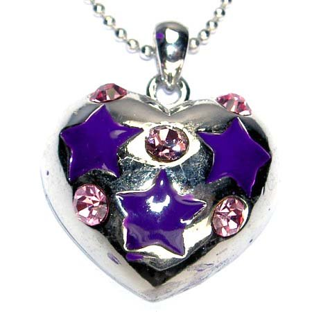 Purple Swarovski Crystal Cute Puffed Heart Star Pendant Necklace