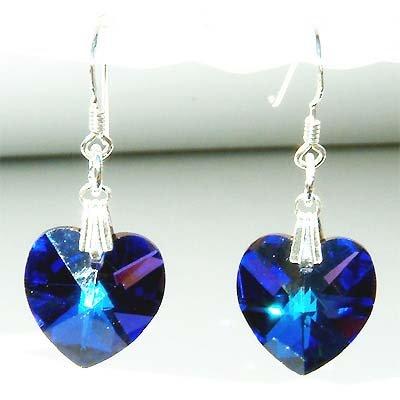Swarovski Crystal Heliotrope Blue Heart Sterling Silver earrings