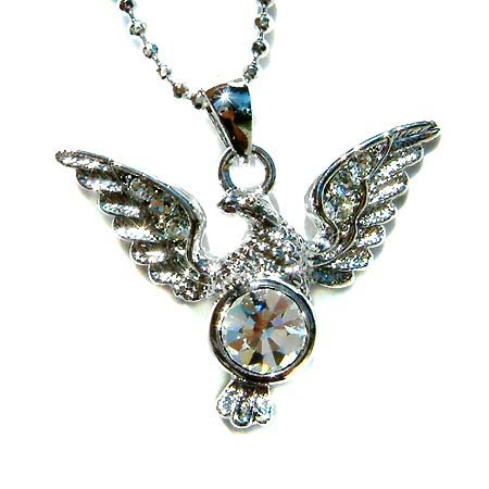 Swarovski Crystal Native Western American Eagle Pendant Necklace