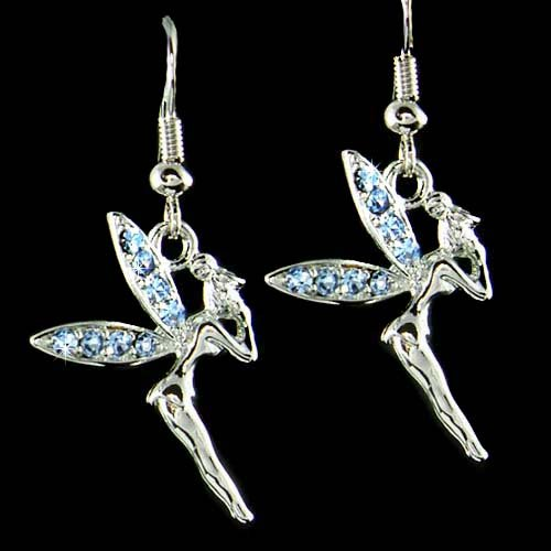 Baby Blue Couture Swarovski Crystal Tinkerbell Fairy Earrings