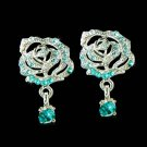 Swarovski Teal Blue Crystal Cutout Rose Flower Stud Earrings