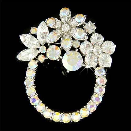 Aurora Borealis Swarovski Crystal Flower Wreath Bouquet Brooch