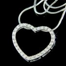 Sparkling Bridal Wedding Swarovski Crystal Cutout Heart Necklace