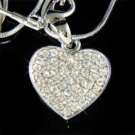 Timeless Bridal Wedding Swarovski Crystal Heart Pendant Necklace