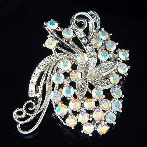 Bridal Swarovski Crystal Wedding Butterfly Flower Bouquet Brooch